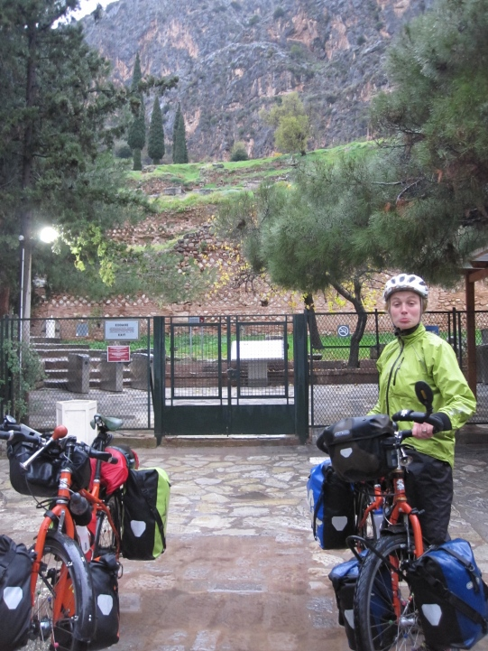 We pedalled up the mountains in torrential rain to the Oracle at Delphi, the birthplace of western civilisation and it was closed...
