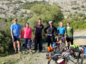Random collection of touring cyclists from all over the world converge on a hillside outside Alexandropoli??