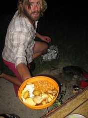 Egg, chips n beanz. Camping style!
