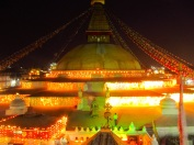 Bouda Stupa at night - awesome spot for meeting old mates - Rich & Dave.